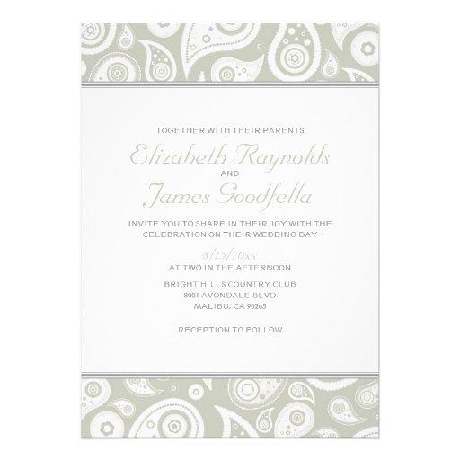 "Ivory Paisley Wedding Invitations 5"" X 7"" Invitation Card"