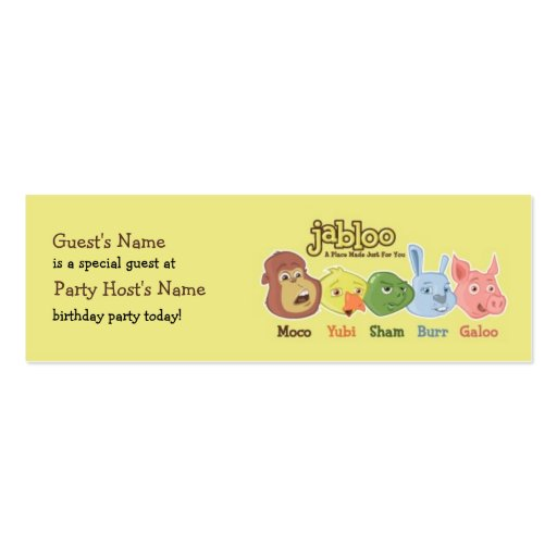 Jabloo Birthday Party Guest Card Business Card Template   Zazzle