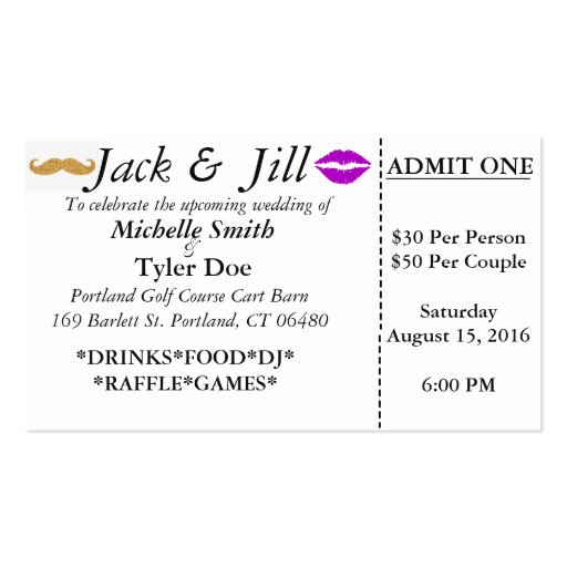 Jack and jill tickets business card zazzle for Jack and jill tickets free templates