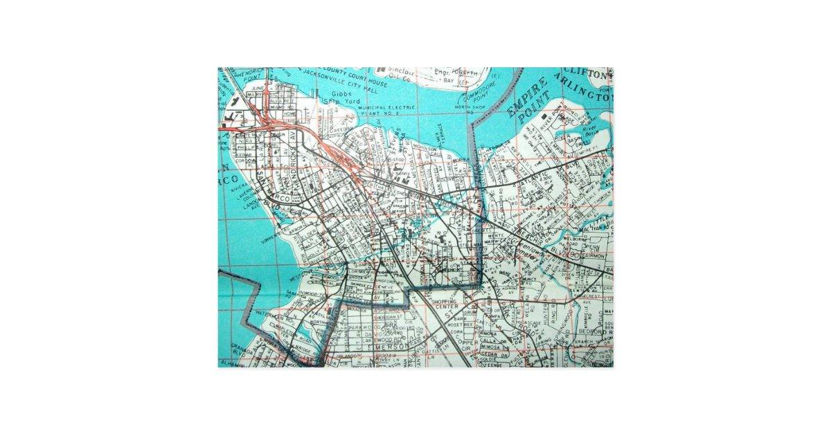 Jacksonville Fl Vintage Map Postcard Zazzle