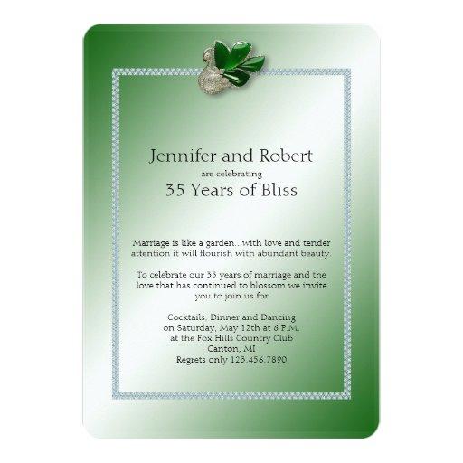 Jade Swan 35th Wedding Anniversary Invitation