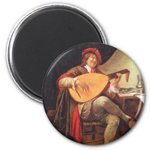Jan Havickszoon Steen Self-Portrait Playing the Lute 2-inch Round Magnet