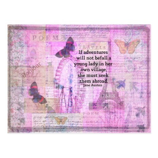 Postcard Quotes Travel: Jane Austen Cute Travel Quote With Art Postcard