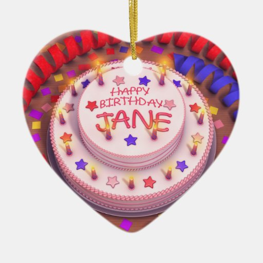Jane's Birthday Cake Double-Sided Heart Ceramic Christmas