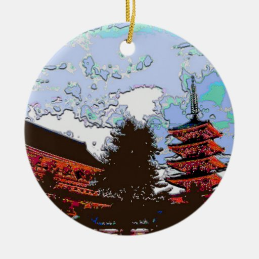 Japanese Pagoda Christmas Ornaments