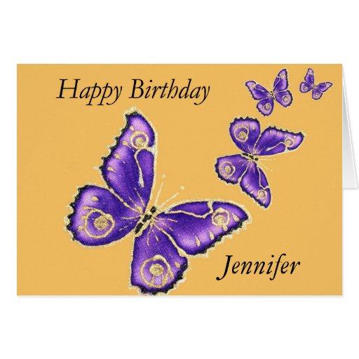 Jennifer, Happy Birthday Purple Butterfly Card