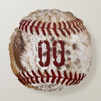 Jersey NUMBER Round Dirty Baseball Pillows Round Pillow