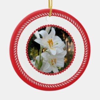 Jesse Tree White Madonna Lily Ornament #2