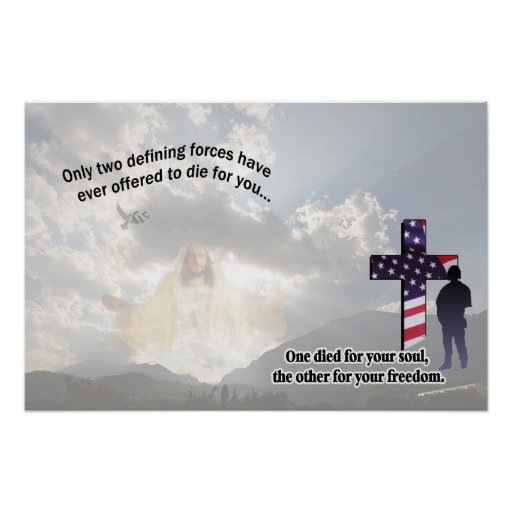 Coca Cola Gifts >> Jesus Christ and the American Soldier Poster   Zazzle