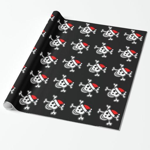 Jolly Roger Christmas Wrapping Paper Santa Skull Zazzle