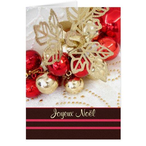 joyeux no l french christmas baubles card zazzle. Black Bedroom Furniture Sets. Home Design Ideas