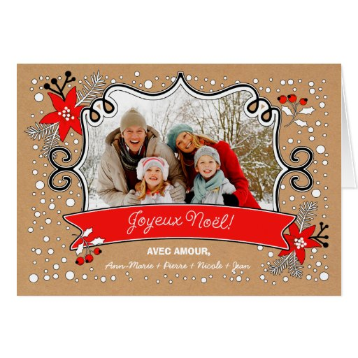 joyeux no l french custom christmas photo cards zazzle. Black Bedroom Furniture Sets. Home Design Ideas