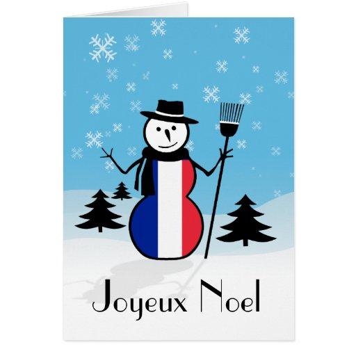 joyeux noel merry christmas french snowman france card. Black Bedroom Furniture Sets. Home Design Ideas