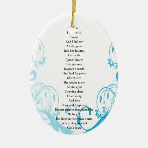 Joy's Birth Poem Double-Sided Oval Ceramic Christmas ...