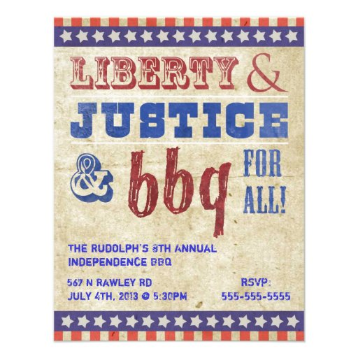 """July 4th Independence Day BBQ Picnic Invitation 4.25"""" X 5"""