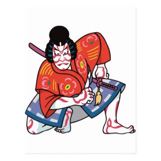 kabuki mask template - samurai mask postcards postcard template designs