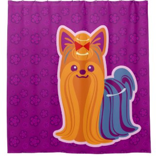 Kawaii Long Hair Yorkie Cartoon Dog Shower Curtain