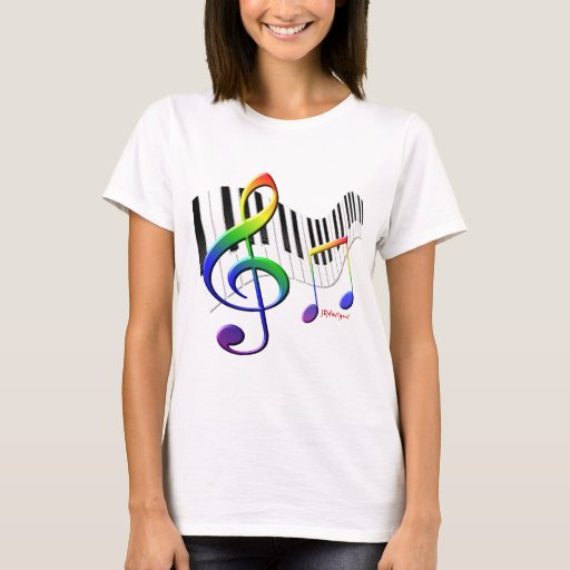 Piano Keyboard and Treble Clef T-Shirt