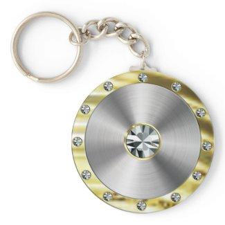 Keychain-Gold, Steel and Diamonds keychain