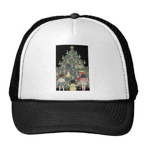 Christmas Tree Hats: Vintage Illustration Mesh Hats