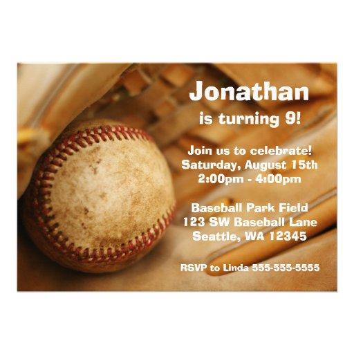 Personalized Baseball Birthday Invitations