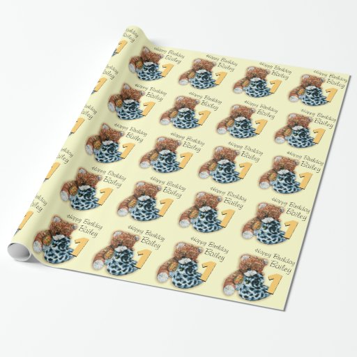 Kids Boys 1st Birthday Teddy Bear Patterned Wrap Wrapping