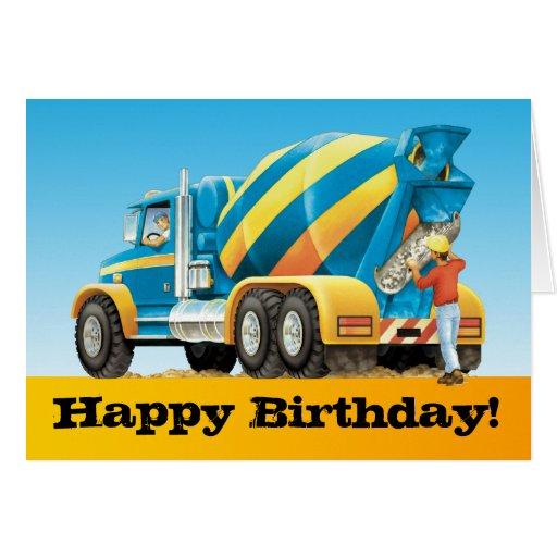 Kids Custom Concrete Mixer Truck Happy Birthday Card