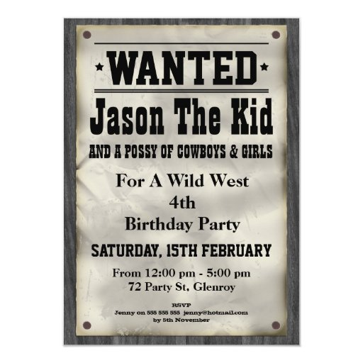 Kids Wild West Wanted Poster Birthday Invitation | Zazzle