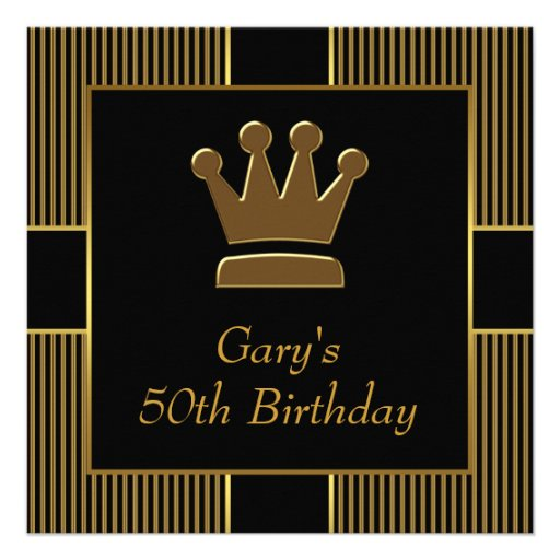 King Crown Mans Black Gold Birthday Party 5.25x5.25 Square