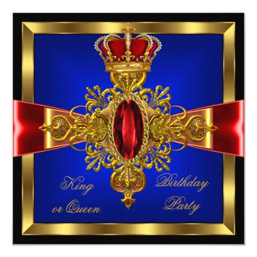 King Or Queen Royal Blue Red Birthday Party 2 Card