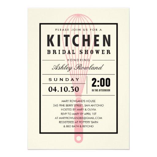 "Kitchen Bridal Shower Invitations 5"" X 7"" Invitation Card"