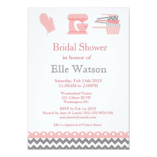 Kitchen Themed Bridal Shower Invitations, Custom 5x7 Paper