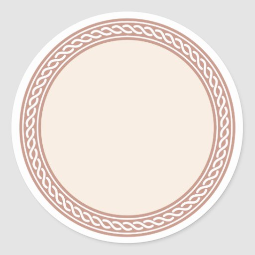 Knots border blank template label classic round sticker for 3 4 round label template
