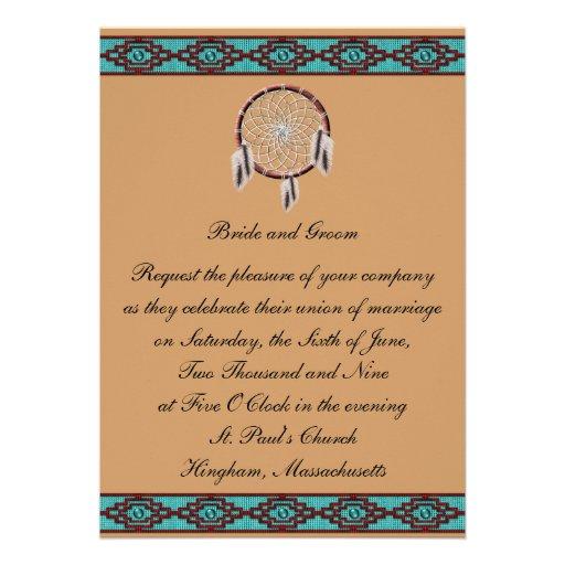 "Native American Wedding Gifts: KRW Border Dreamcatcher Wedding Invitation 5"" X 7"