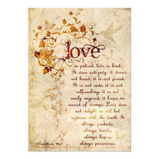 Best Bible Verse For Wedding Invitation: KRW Corinthians Love Is: Wedding Invitation Ecru