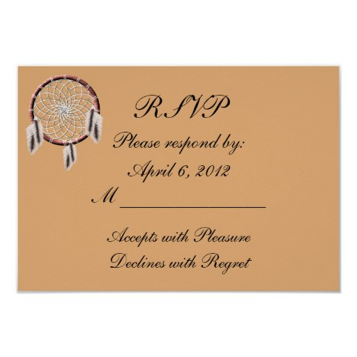 Native American Wedding Invitations: KRW Dreamcatcher Native American Wedding RSVP Card
