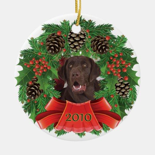 Labrador Retriever Christmas Holiday Wreath Orname ...