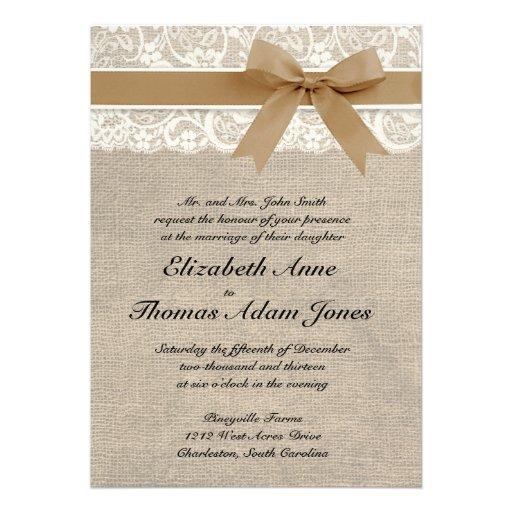 "Lace And Burlap Rustic Wedding Invitation- Caramel 5"" X 7"