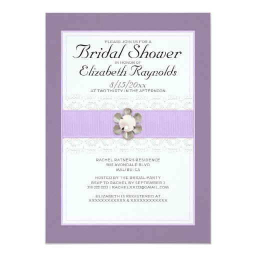 Pearl And Lace Wedding Invitations: Lace And Pearl Bridal Shower Invitations