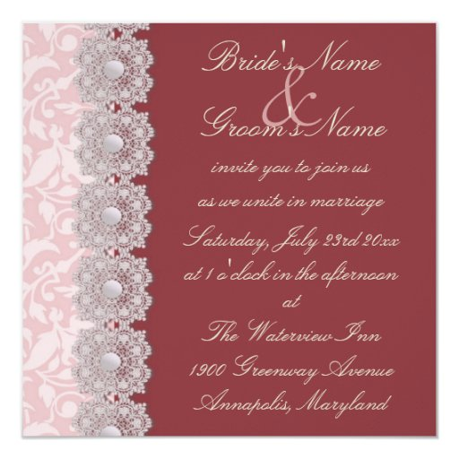 Pearl And Lace Wedding Invitations: Lace And Pearls Raspberry Wedding Invitation