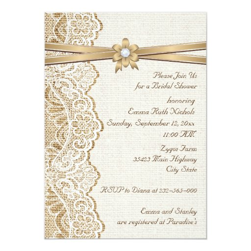 lace ribbon flower  burlap wedding bridal shower card