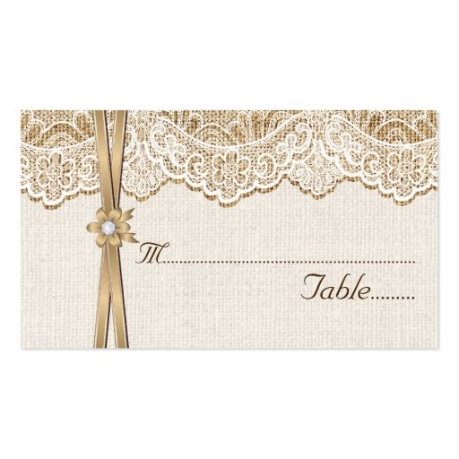 Lace ribbon flower on burlap wedding place card zazzle for Burlap flower template