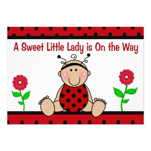 "Ladybug Baby Shower Invitation 5"" X 7"" Invitation Card"