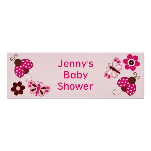 Baby Shower Custom Banners: Ladybug Butterfly Personalized Baby Shower Banner Poster