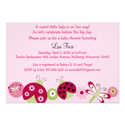 Personalized Ladybug Invitations
