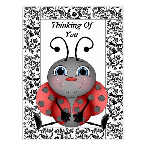ladybug thinking of you postcard. Black Bedroom Furniture Sets. Home Design Ideas