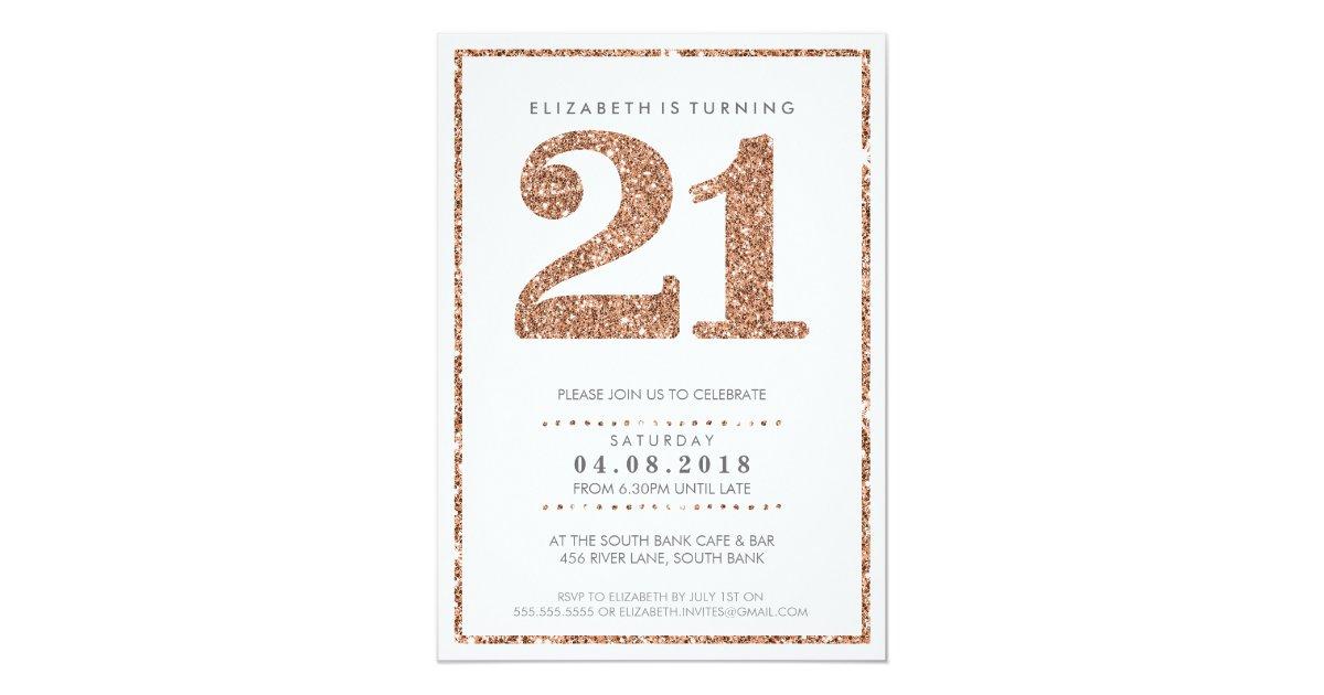 Large Age Number Invite Glam 21 Rose Gold Glitter Zazzle