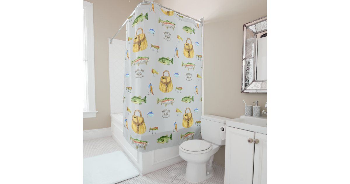Bass Fishing Curtain: Large Mouth Bass Trout Fish Vintage Fishing Cabin Shower