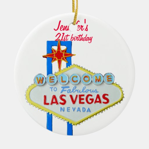 Las Vegas 21st Birthday Pendant Ceramic Ornament