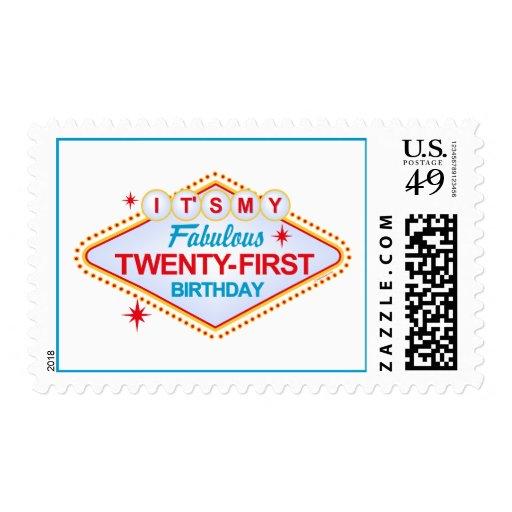 Las Vegas 21st Birthday Stamp